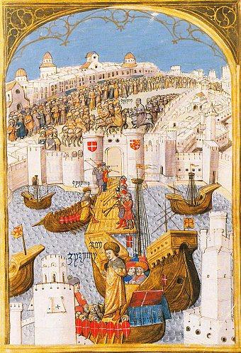 1. Η άφιξη του Πρίγκηπα Τζεμ στη Ρόδο (από τα Έργα του Γουιλιέλμου Καουρσέν)