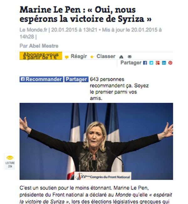 Mari Lepen also for SYRIZA