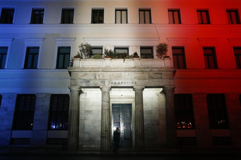 Athens town hall was lit with the colours of the French flag in solidarity towards France after the terrorist attacks that occured in Paris. In Athens, on Nov. 14, 2015 / Το δημαρχείο της Αθήνας στα χρώματα της Γαλλικής σημαίας σε αλληλεγγύη προς την Γαλλία μετά τις επιθέσεις τρομοκρατών στο Παρίση. Αθήνα, στις 14 Νοεμβρίου, 2015