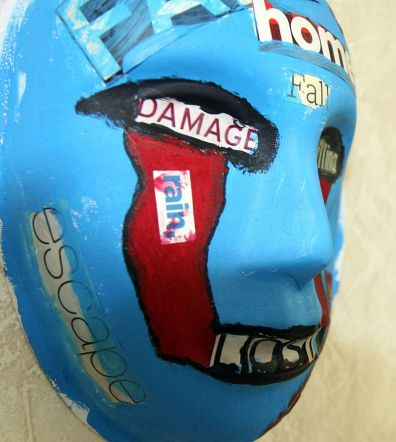 A mask, painted by a Marine who attends art therapy to relieve post-traumatic stress disorder
