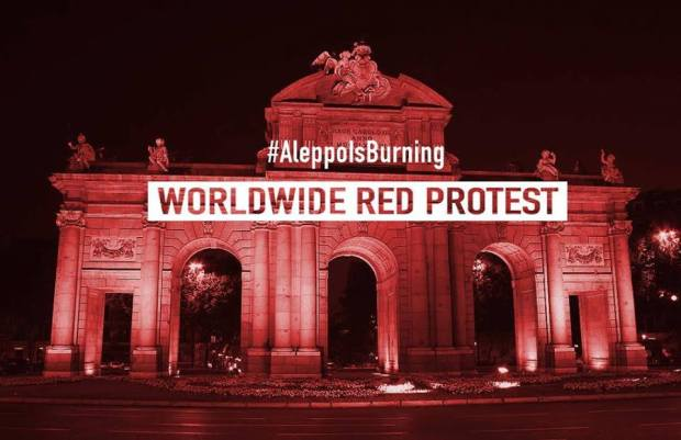 Aleppo Is Burning WORLDWIDE RED PROTEST