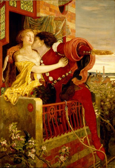 An 1870 oil painting by Ford Madox Brown depicting the play's famous balcony scene