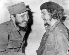 PKT3322 - 236251 1967 WHEN GUEVARA CONFERRED WITH CASTRO  Ernesto 'Che' Guevara (R), former top lieut. of Cuban Prime Minister Fidel Castro with whom he's seen with in 1959, was killed in battle in Bolivia, a Bolivian military communique said today.